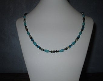 Magnesite and blue/green glass beads