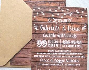 Wood and Kraft Handmade Wedding Invitation-Wedding wood effect with Kraft Envelope