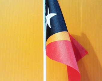 A5 Size East Timor Flag with Pole and Base