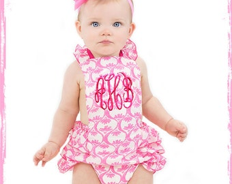 Boutique Bubble Halter Romper Ruffle Butt Frilly Girly Baby Girl Bubble One Piece
