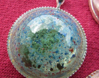 Handmade Earthy Resin & Silver Necklace