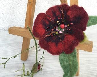 Brooch Felted Flower Poppy Brooch Felt Brooch Poppy Hand Felted Brooch Red Poppy Flower Brooch 20%OFF with coupon code HOTAUGUST2016