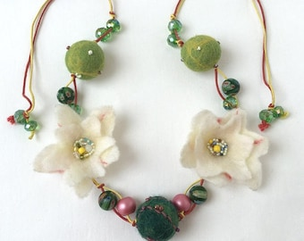 """Felting Necklace One-of-a-kind Necklace Summer Necklace """"Summer Glade""""   Felt Necklace  Flowers Necklace Handmade Flower Merino Wool"""