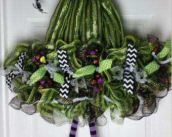 Deco Mesh Halloween Witch Hat Wreath, Halloween Wreath,Green Deco Mesh Wreath, Witch Hat Wreath, Halloween Wreath