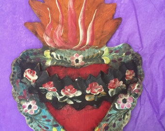 Large hand painted heart on tin