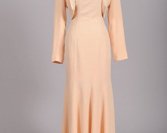 1970 Peach Vintage Wedding Ensemble