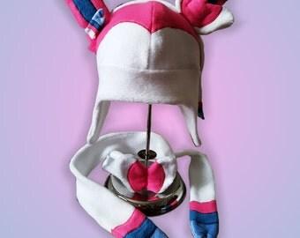 Pokémon Sylveon Fleece Beanie Hat Scarf Cosplay Handmade Kids Teens Adults