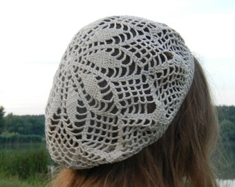 Crochet hat Summer beanie for woman beach hat Summer crochet hat Cotton hat beige women's knitted hat summer accessories mother's day gift
