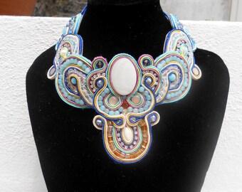 /Gem jewel necklace multicolor/Pearl/Soutache necklace (S01)