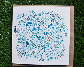 Blue Floral Watercolour greeting Card