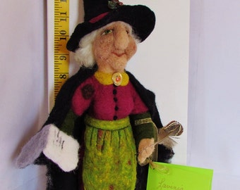 Lavinia,  handmade, needle felted, witch, witch doll, felted doll, OOAK, 100% wool fiber, art doll, collector's doll