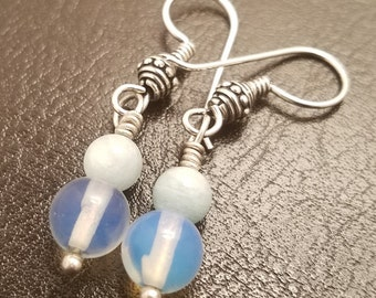 DREAM Chalcedony with Amazonite Women's Earrings