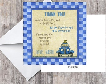 Little Blue Truck Thank You Card printable.