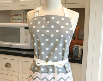 Gray and White Polka Dot Apron, Womens Apron, Apron for Women, Cute Apron, Vintage Apron, Retro Apron, Mid Century Apron, Gifts for her