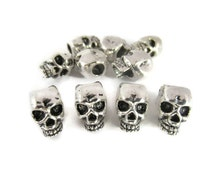 Skull Beads for Paracord, Tibetan Silver, Large Hole Beads, Metal, , Jewelry, Hair, Rocker, 10 Beads, Charms,