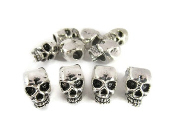 Skull Beads for Paracord, Tibetan Silver, Large Hole Beads, Metal, European Beads, Jewelry, Hair, Rocker, 10, 25, 50, Beads, Charms,