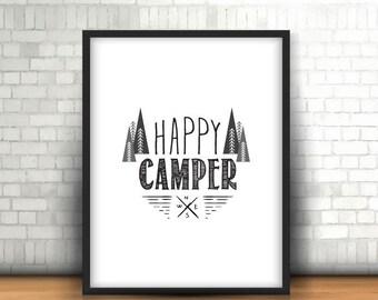 Happy Camper Print, Inspirational Print, Digital Print, Instant Download, Modern Home Decor, Nursery Print, Mountains Home Print - (D074)
