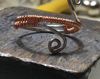 two toned copper wire wrapped ring