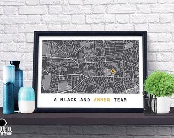 Hull Football Poster, Football Poster, Football Print, gift, Map Print