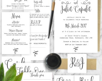 Printable Digital Wedding Invite & Reception Full Stationery Set - Classic Classy Calligraphy Invite, RSVP, Save the Date, Menu, BellyBand