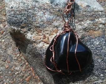 Mystical Black Stone Pendant wire wrapped with Copper