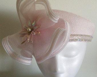 Handmade Women's light pink, mesh flower with shiny pink flower Pim,rhinestone trim. Kentucky Derby,wedding,Church hat