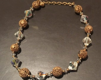 Vintage necklace - gold and sparkly glass beads