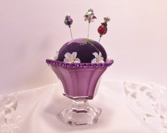 Purple Rose with White Flowers,Stick Pin Cushion,Stick Pin Holder,Hat Pin Cushion,Hat Pin Holder,Pin Cushion,Shawl Pin Holder,Accessories
