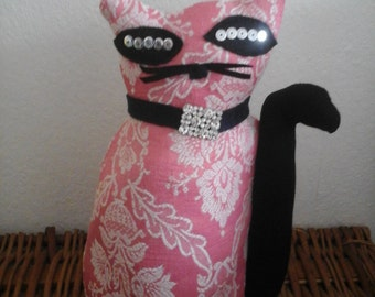 Handmade pink cat./gift fot her/home/unique /original  1 only.