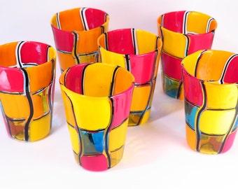 Multicolor with Black Filigree Set, 6 Pieces