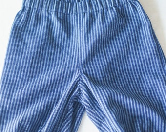 Henry baggy baby pants with matching Humphrey babybowtie in vintage milkboy stripes