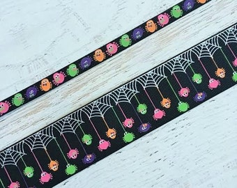 1.5 inch USDR Glow in the Dark Halloween Ribbon - Spider Ribbon - Glow in the Dark Spiders