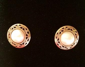 1928 Brand Pierced Earrings Goldtone Faux Pearl