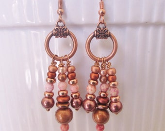 Copper wire pink glass & copper beads, glass beads dangle drop earrings
