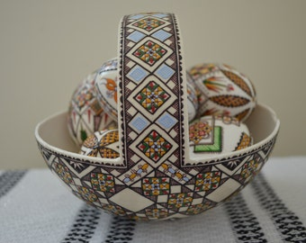 IN STOCK Genuine Decorated Ostrich Egg Basket Gift/Collectible/Decoration (Large)