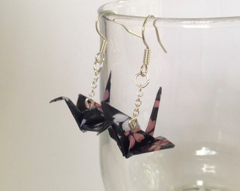 Japanese origami earrings, hand folded, wedding, bridesmaids, Japanese handmade, traditional pattern, chiyogami paper