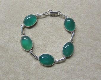 Incredible Rich Green Onyx STERLING silver 5 stone bracelet.