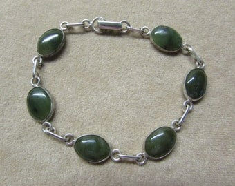 Beautiful Jade STERLING silver 6 stone bracelet.