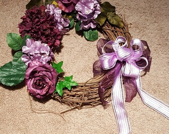 Purple and Lavendar Hydrangea Front Door Wreath