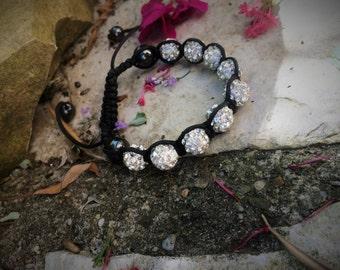 SALE-50%! Bracelet with pearls rhinestones /silver silver color bracelet with rhinestone shamballa shamballa