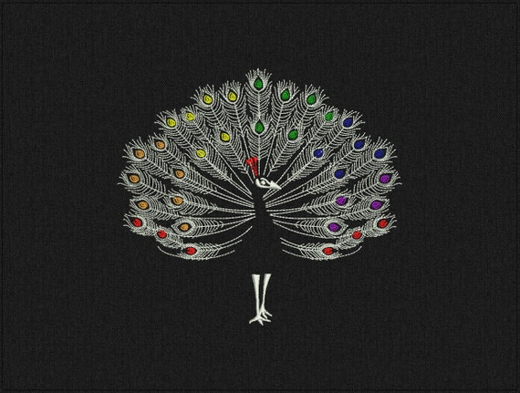 ColdPlay style peacock - Machine embroidery design - instant download