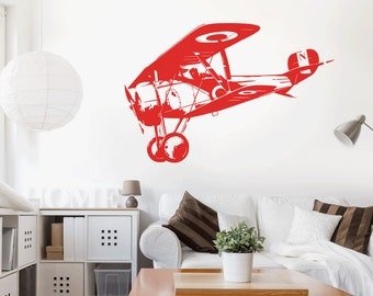 Airplane biplane - wall decals wall sticker wall sticker mural stickers wall stickers tattoo sticker interior design motif w601a