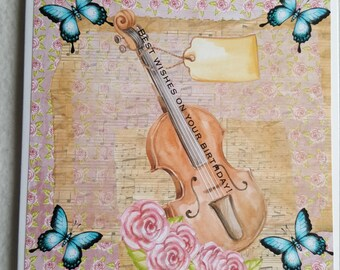 Butterflies and Cello Birthday Card