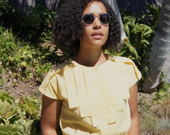 Canary Yellow 80s Does 50s Button Up Blouse