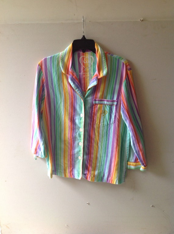 Vintage 90s VICTORIAS SECRET button down rainbow shirt with collar and 3/4 length sleeves. Size small