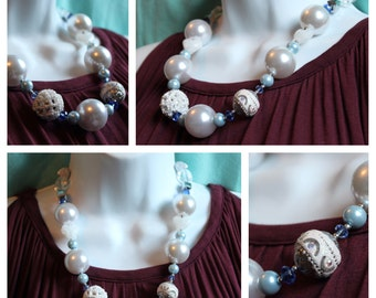 Winter White & Blue Necklace