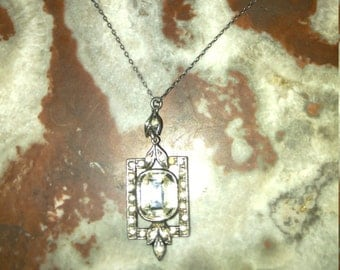 1920s sterling and crystal pendant