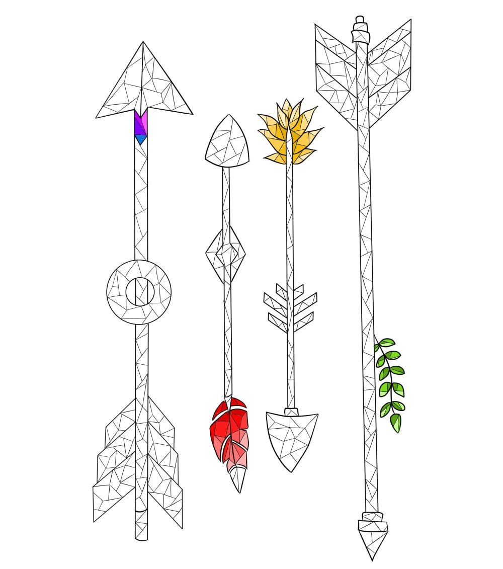 coloring page boho coloring page arrow and feather