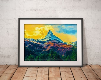 Matterhorn Zermatt Switzerland Print, Landscape Print, Mountain Painting, Swiss Alps