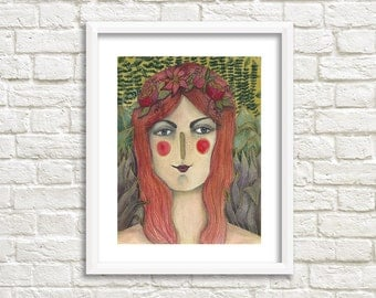 Lady with Red Hair Illustration, Art Print
